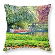 Swans And Tulips 1 Throw Pillow