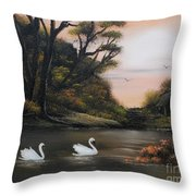 Swans At Dusk.for Sale Throw Pillow