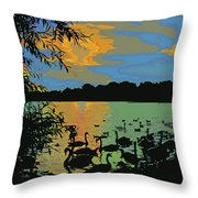 Swans At Sunset Throw Pillow