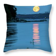Swans Gliding Into The Moonlight During A Moonrise In Stockholm Throw Pillow
