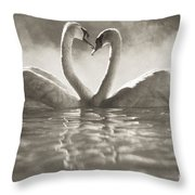 Swans In Lake Throw Pillow