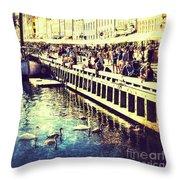 Swans In Nyhavn Throw Pillow