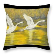 Swans In The Fall In Montana Throw Pillow
