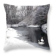 Swans In The Snow Throw Pillow