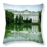 Swans On Austrian Lake Throw Pillow