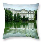 Swans On Austrian Lake Throw Pillow