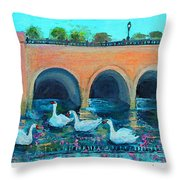 Swans On The Charles River Throw Pillow