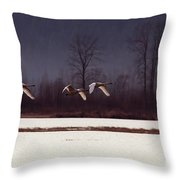 Swans Over The Marsh Throw Pillow