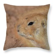 Sweet Face Of A Prairie Dog Up Close And Personal Throw Pillow