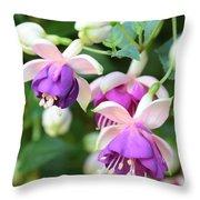 Sweet Fuchsia Flowers Throw Pillow
