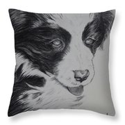 Sweet Girl Border Collie Puppy Throw Pillow