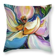 Sweet Magnoli Floral Abstract Throw Pillow
