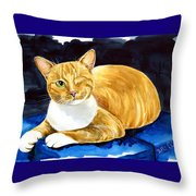 Sweet Melon - Ginger Tabby Cat Painting Throw Pillow