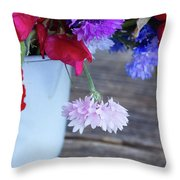 Sweet Pea And Corn Flowers Throw Pillow