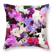 Sweet Pea Spencer Flowers Throw Pillow