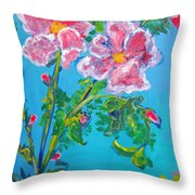 Sweet Pea Flowers On A Vine Throw Pillow