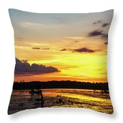 Drawin The Fish At Last Light Throw Pillow