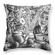 Sweet Tea And Sweet Dreams Black And White Throw Pillow