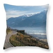 Swerving Road In Valtellina, Italy Throw Pillow