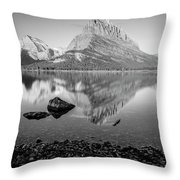 Swift Current Lake Reflection Black And White  Throw Pillow