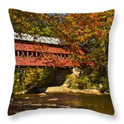 Swift River Covered Bridge In Conway New Hampshire Throw Pillow