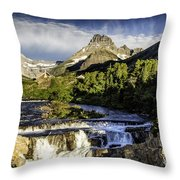 Swiftcurrent Falls Glacier Park 3 Throw Pillow