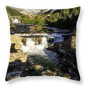 Swiftcurrent Falls Glacier Park 4 Throw Pillow