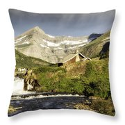 Swiftcurrent Falls Glacier Park Throw Pillow