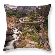 Swiftcurrent Lake Falls Throw Pillow