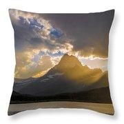 Swiftcurrent Lake Sundown Glacier N P Throw Pillow
