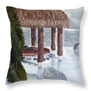 Swim To A Beach Bar Cool Huh Throw Pillow