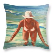 Swimmer In Blue Throw Pillow