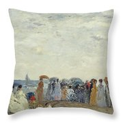 Swimmers On Trouville Beach Throw Pillow