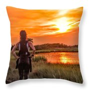 Swimmers Sunset Throw Pillow