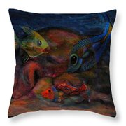 Swimming At The Rusty Heart Throw Pillow