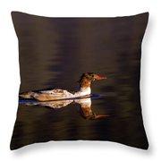 Swimming Female Merganser - Odell Lake Oregon Throw Pillow