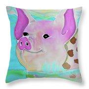 Swimming Piggy Throw Pillow