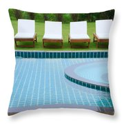 Swimming Pool And Chairs Throw Pillow by Atiketta Sangasaeng