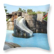 Swimming Pool With Slide For Children Throw Pillow