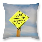 Swimming Sign Throw Pillow