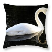 Swimming Swan Throw Pillow