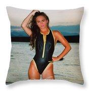 Swimsuit Girl Ad Throw Pillow