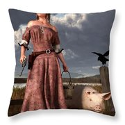 Swineherdess Throw Pillow by Daniel Eskridge