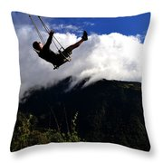 Swing At The End Of The World Throw Pillow