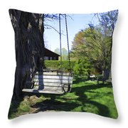 Swing In Spring Throw Pillow