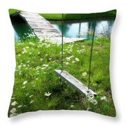 Swing In The Daisies With Bridge Throw Pillow