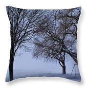 Swing In Winter Throw Pillow