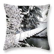 Swinging Bridge Over Gauley River Throw Pillow