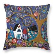 Swirl Tree Village Throw Pillow