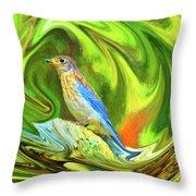 Swirling Bluebird Abstract Throw Pillow